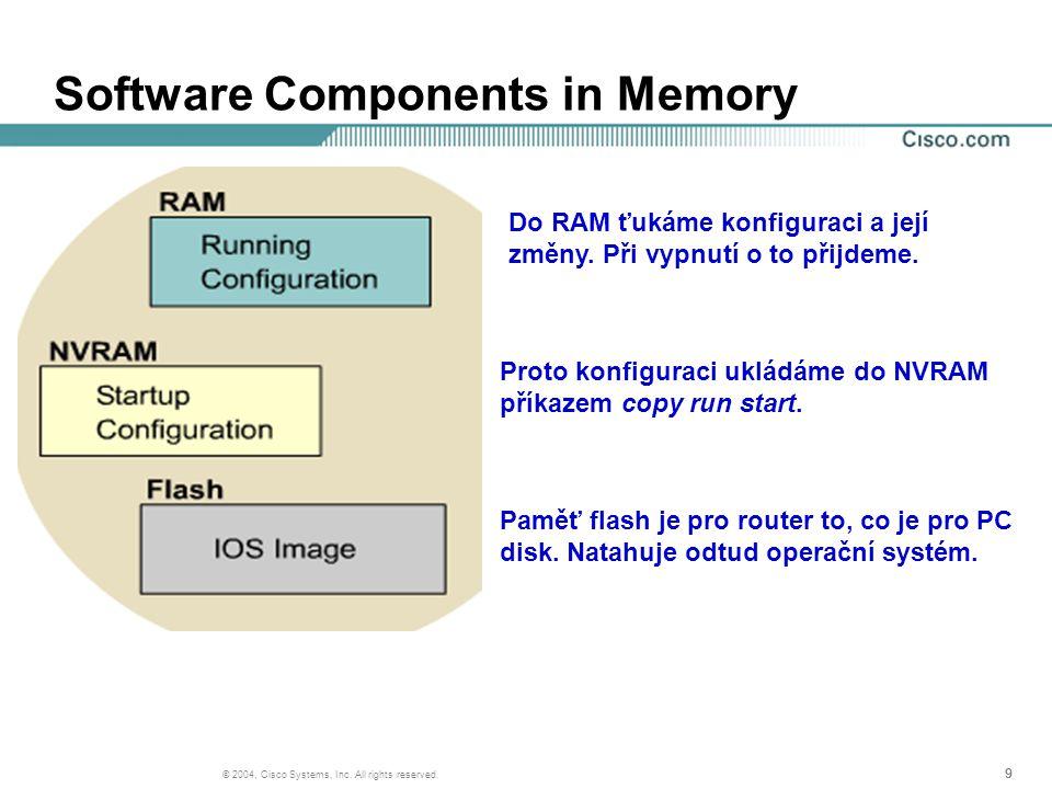 999 © 2004, Cisco Systems, Inc. All rights reserved. Software Components in Memory Do RAM ťukáme konfiguraci a její změny. Při vypnutí o to přijdeme.