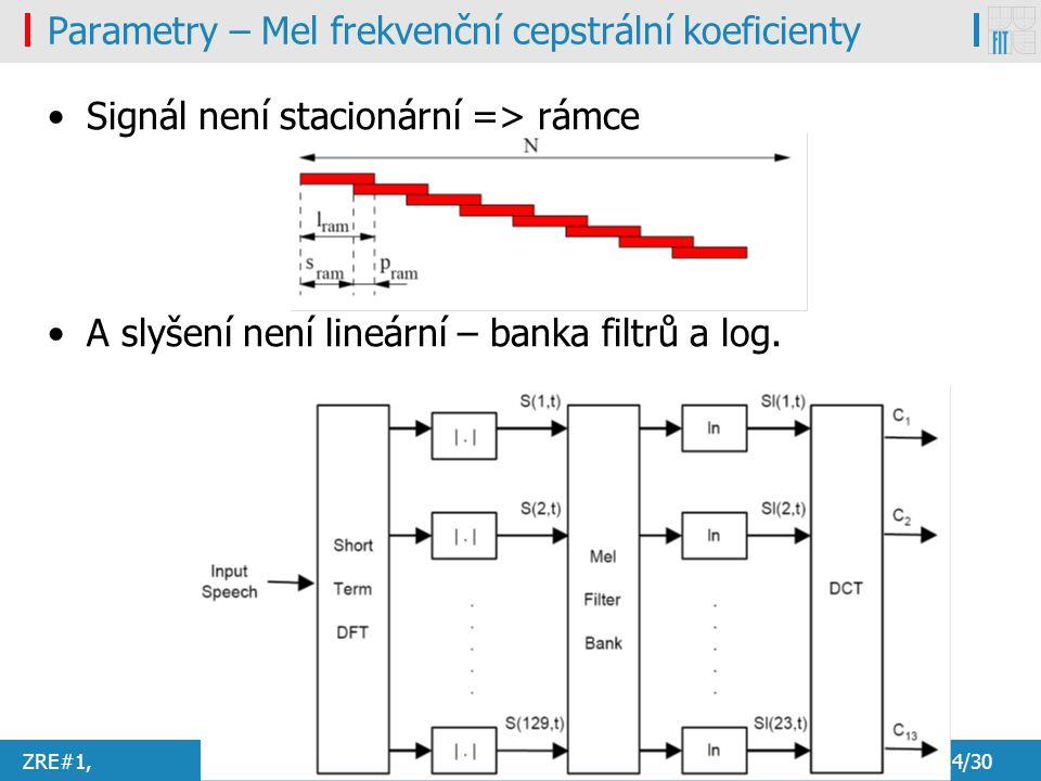 ZRE#1, Honza Černocký7.2.201114/30 Parametry – Mel frekvenční cepstrální koeficienty Signál není stacionární => rámce A slyšení není lineární – banka filtrů a log.