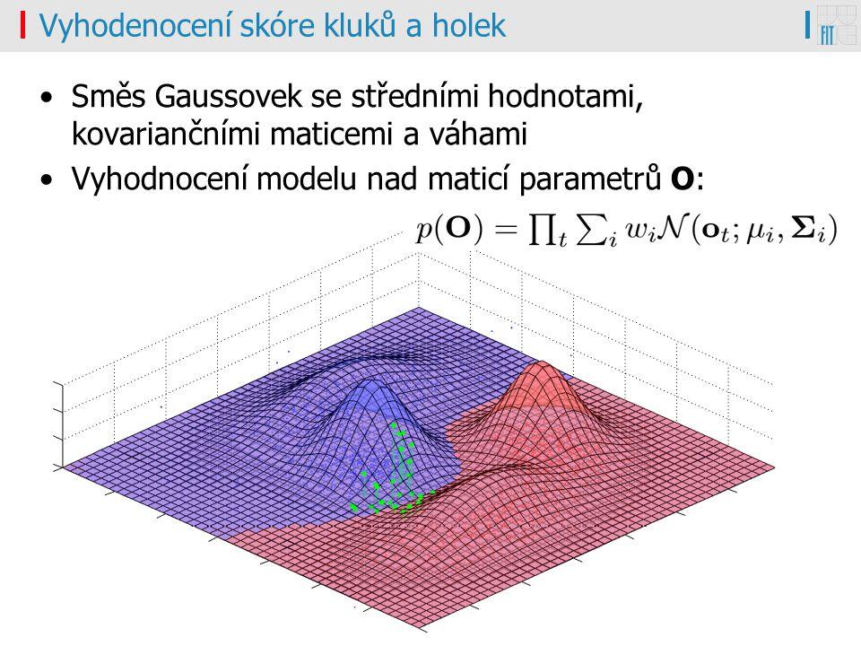 ZRE#1, Honza Černocký7.2.201116/30 Vyhodenocení skóre kluků a holek Směs Gaussovek se středními hodnotami, kovariančními maticemi a váhami Vyhodnocení modelu nad maticí parametrů O: