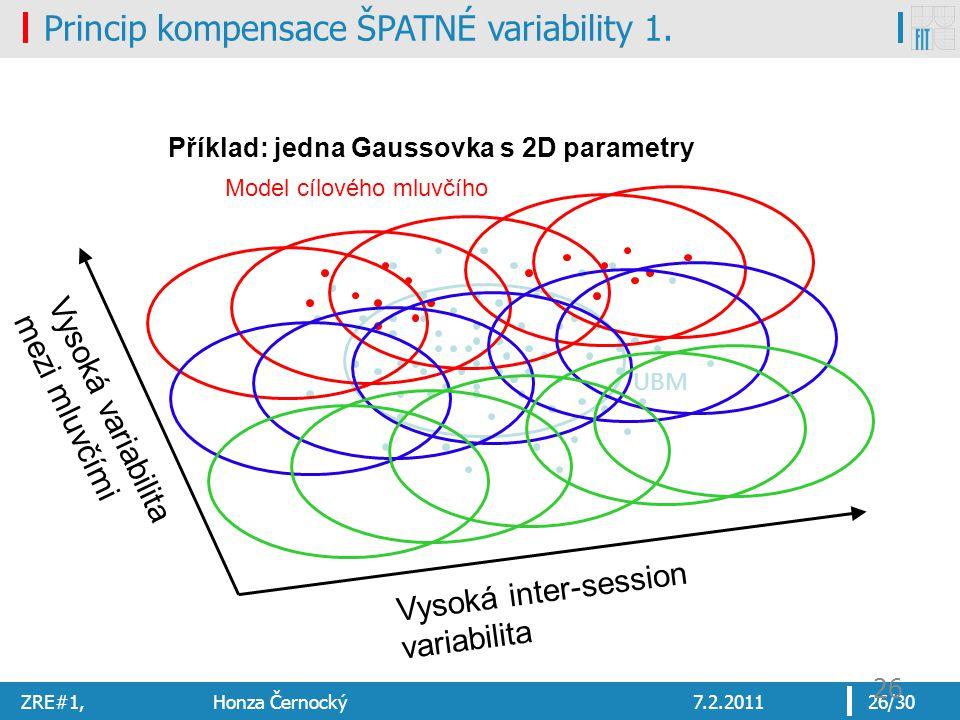 ZRE#1, Honza Černocký7.2.201126/30 26 Vysoká inter-session variabilita Vysoká variabilita mezi mluvčími UBM Model cílového mluvčího Příklad: jedna Gaussovka s 2D parametry Princip kompensace ŠPATNÉ variability 1.