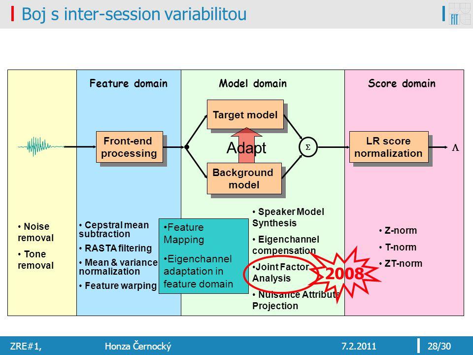 ZRE#1, Honza Černocký7.2.201128/30 Boj s inter-session variabilitou Front-end processing Front-end processing Target model Background model Background