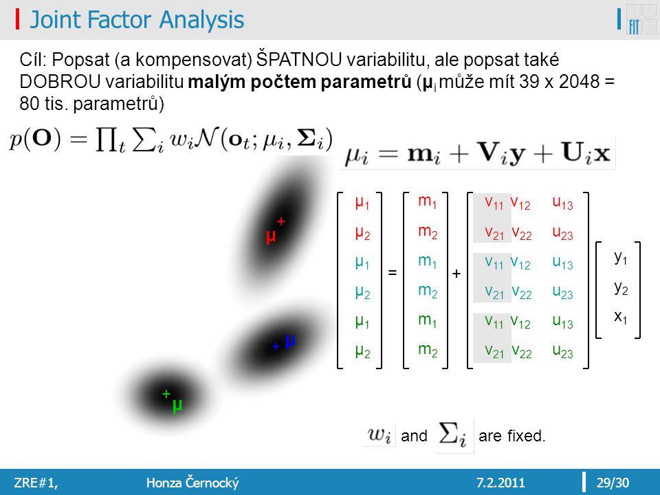 ZRE#1, Honza Černocký7.2.201129/30 μ1μ2μ1μ2μ1μ2μ1μ2μ1μ2μ1μ2 = v 11 v 12 v 21 v 22 v 11 v 12 v 21 v 22 v 11 v 12 v 21 v 22 y1y2x1y1y2x1 u 13 u 23 u 13 u 23 u 13 u 23 + + + μ μ μ and are fixed.