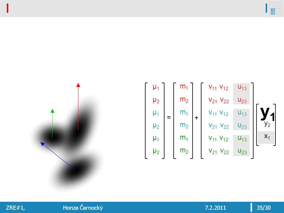 ZRE#1, Honza Černocký7.2.201135/30 y2x1y2x1 y1y1 μ1μ2μ1μ2μ1μ2μ1μ2μ1μ2μ1μ2 = v 11 v 12 v 21 v 22 v 11 v 12 v 21 v 22 v 11 v 12 v 21 v 22 u 13 u 23 u 13