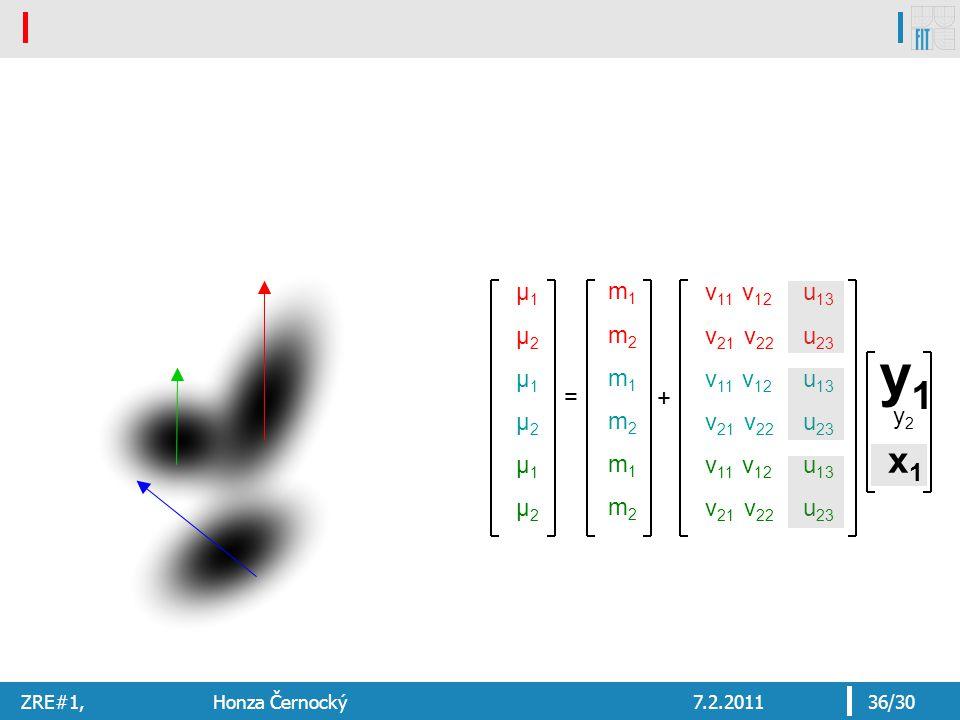 ZRE#1, Honza Černocký7.2.201136/30 x1 x1 y2y2 y1y1 μ1μ2μ1μ2μ1μ2μ1μ2μ1μ2μ1μ2 = v 11 v 12 v 21 v 22 v 11 v 12 v 21 v 22 v 11 v 12 v 21 v 22 u 13 u 23 u