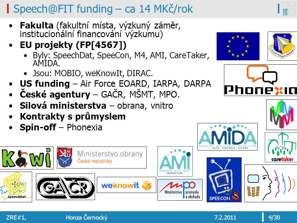 ZRE#1, Honza Černocký7.2.20114/30 Fakulta (fakultní místa, výzkuný záměr, institucionální financování výzkumu) EU projekty (FP[4567]) Byly: SpeechDat,