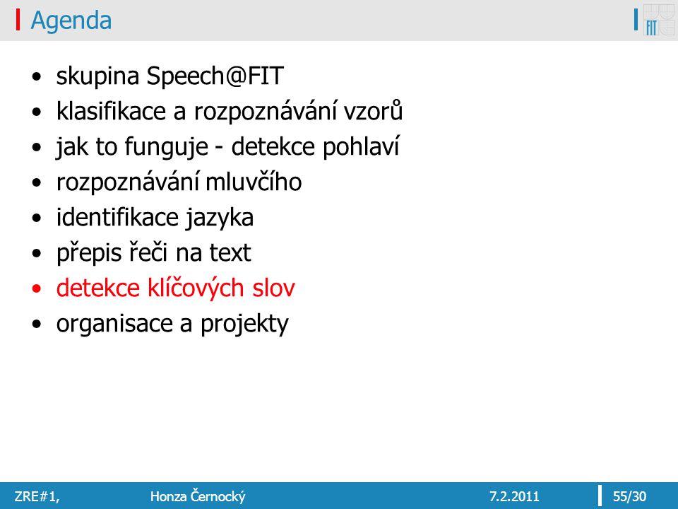 ZRE#1, Honza Černocký7.2.201155/30 Agenda skupina Speech@FIT klasifikace a rozpoznávání vzorů jak to funguje - detekce pohlaví rozpoznávání mluvčího identifikace jazyka přepis řeči na text detekce klíčových slov organisace a projekty