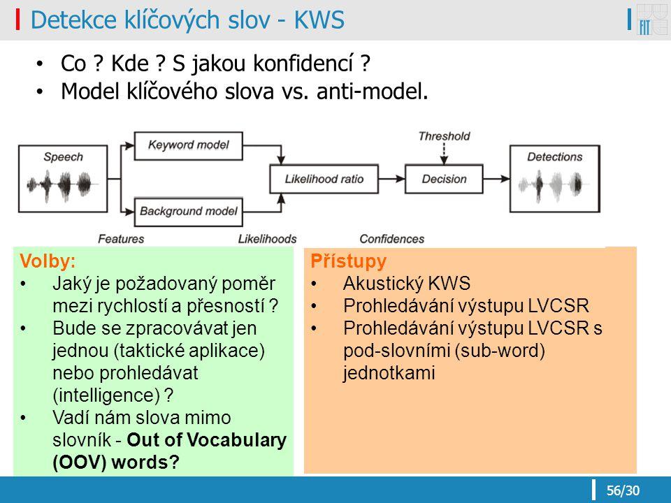 56/30 Přístupy Akustický KWS Prohledávání výstupu LVCSR Prohledávání výstupu LVCSR s pod-slovními (sub-word) jednotkami Detekce klíčových slov - KWS Co .