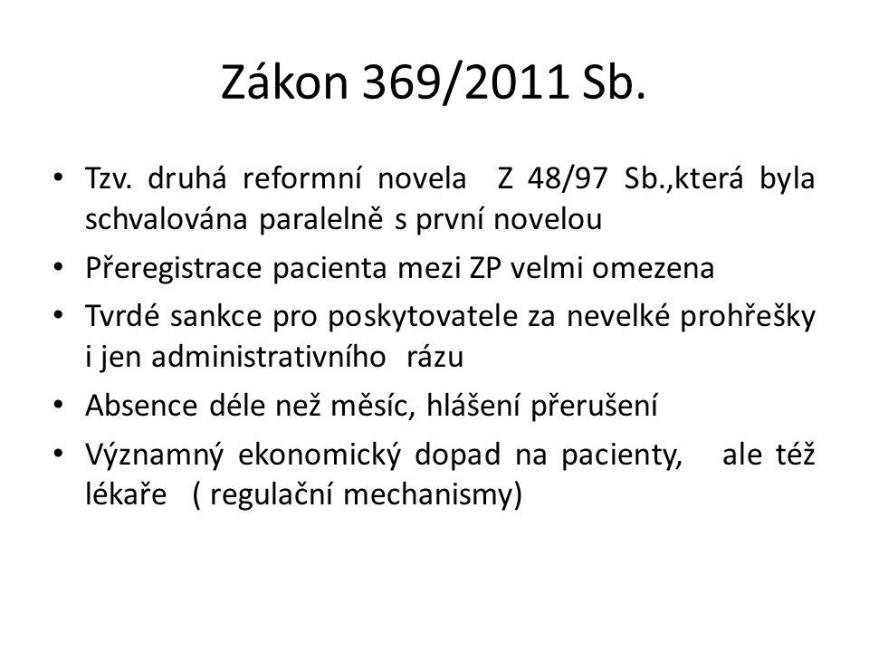 Zákon 369/2011 Sb. Tzv. druhá reformní novela Z 48/97 Sb.,která byla schvalována paralelně s první novelou Přeregistrace pacienta mezi ZP velmi omezen