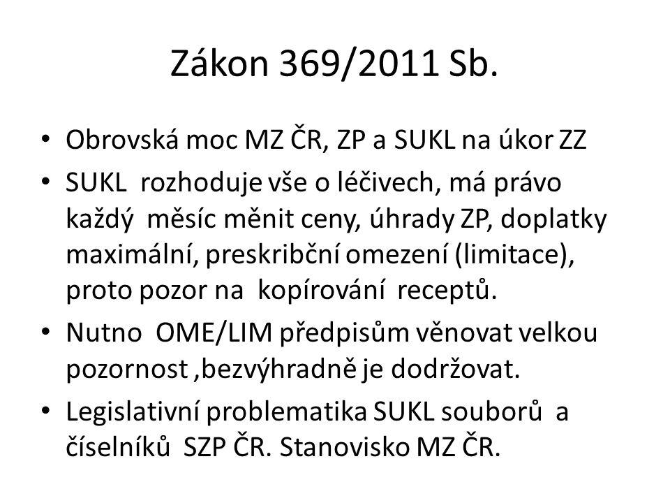 Zákon 369/2011 Sb. Obrovská moc MZ ČR, ZP a SUKL na úkor ZZ SUKL rozhoduje vše o léčivech, má právo každý měsíc měnit ceny, úhrady ZP, doplatky maximá