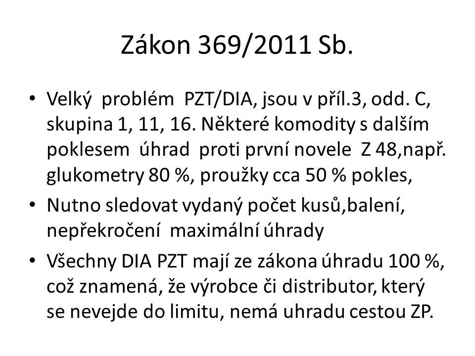 Zákon 369/2011 Sb. Velký problém PZT/DIA, jsou v příl.3, odd. C, skupina 1, 11, 16. Některé komodity s dalším poklesem úhrad proti první novele Z 48,n