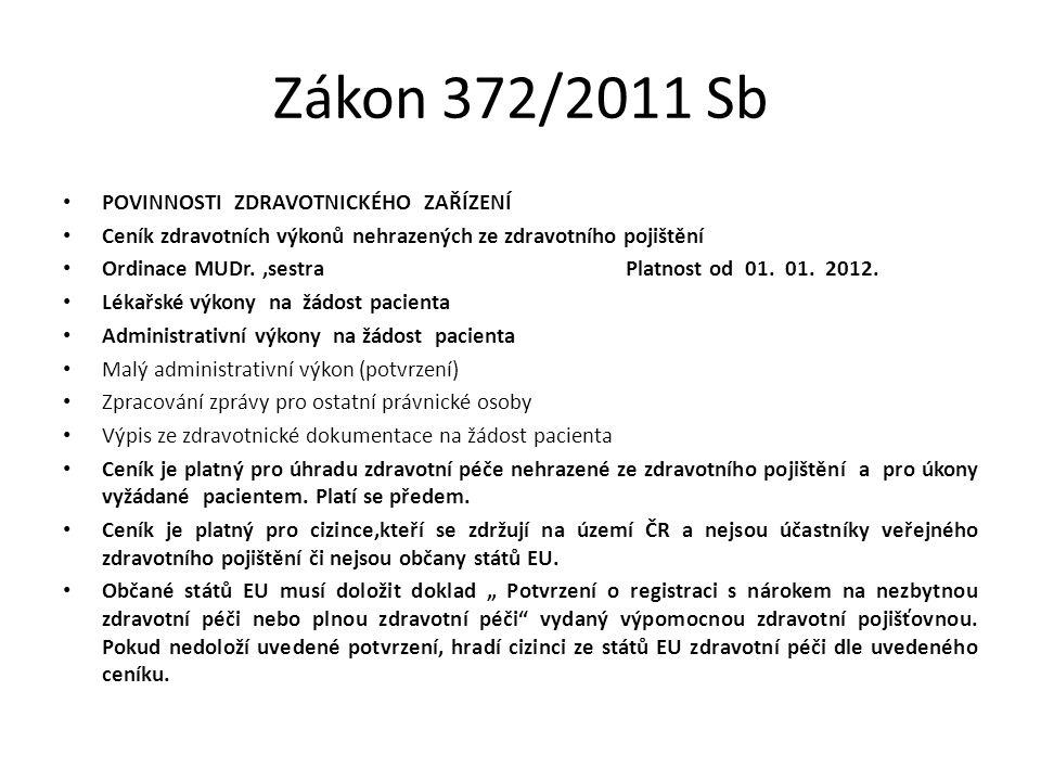 Zákon 372/2011 Sb POVINNOSTI ZDRAVOTNICKÉHO ZAŘÍZENÍ Ceník zdravotních výkonů nehrazených ze zdravotního pojištění Ordinace MUDr.,sestra Platnost od 0