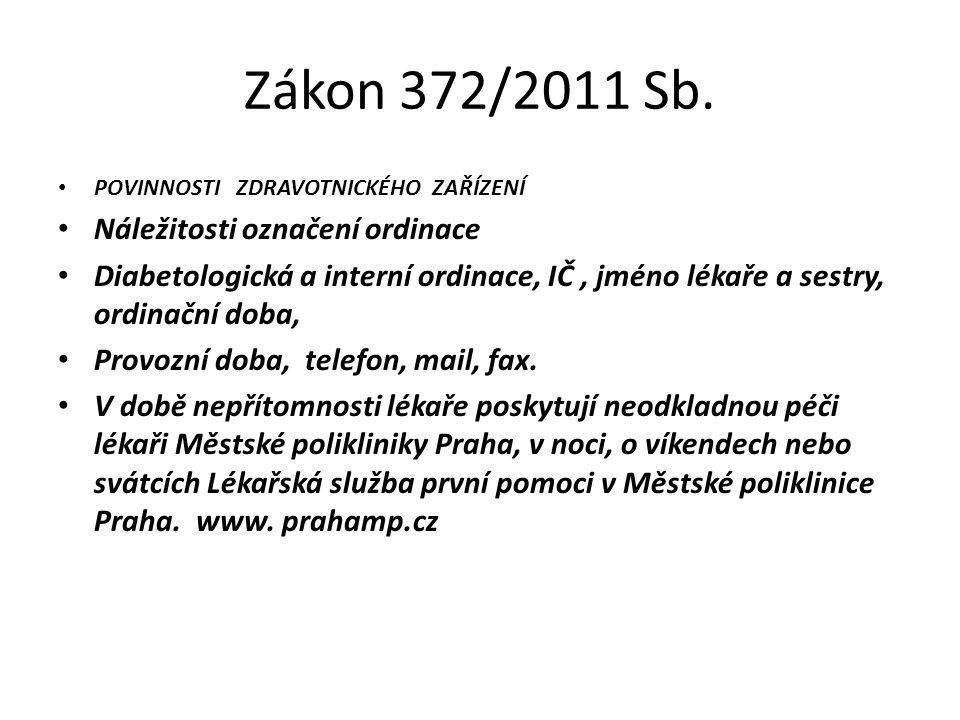 Zákon 372/2011 Sb. POVINNOSTI ZDRAVOTNICKÉHO ZAŘÍZENÍ Náležitosti označení ordinace Diabetologická a interní ordinace, IČ, jméno lékaře a sestry, ordi