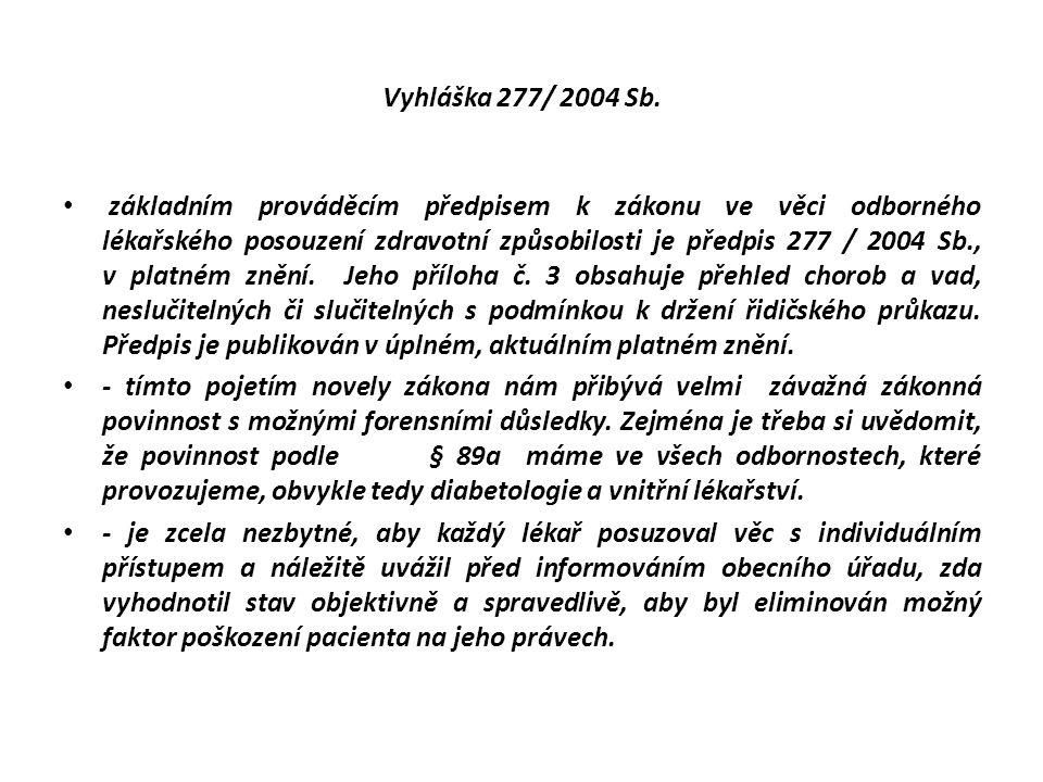 Vyhláška 277/ 2004 Sb. základním prováděcím předpisem k zákonu ve věci odborného lékařského posouzení zdravotní způsobilosti je předpis 277 / 2004 Sb.
