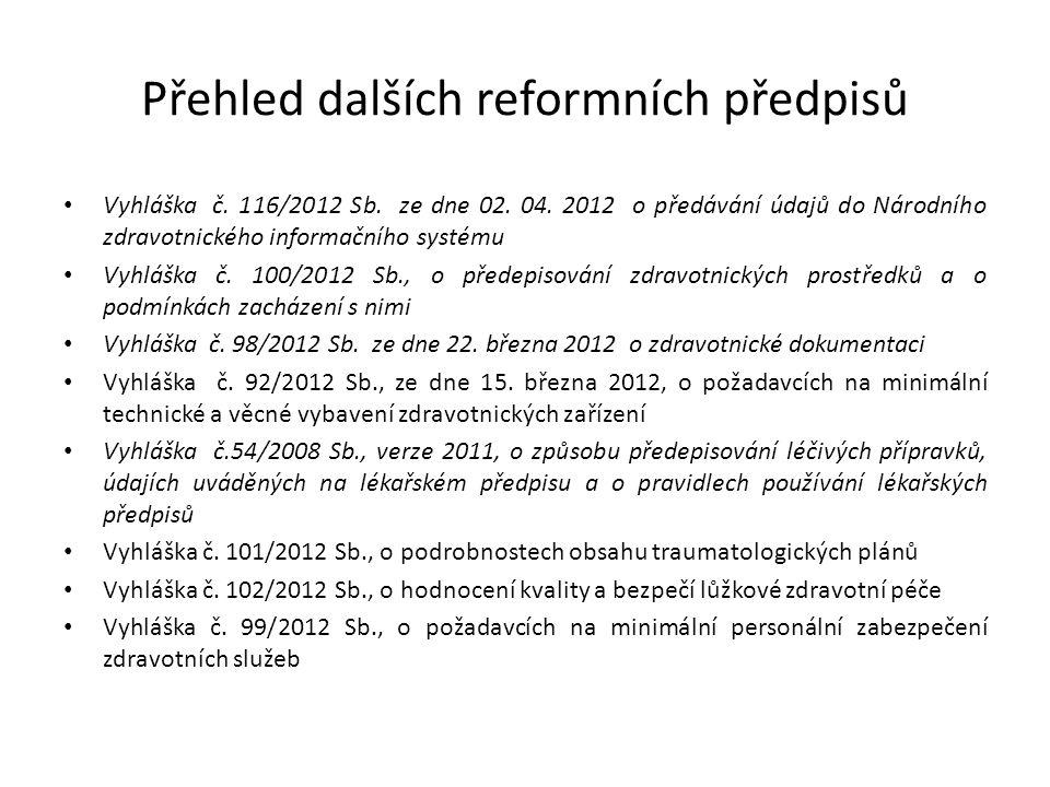 Přehled dalších reformních předpisů Vyhláška č. 116/2012 Sb. ze dne 02. 04. 2012 o předávání údajů do Národního zdravotnického informačního systému Vy