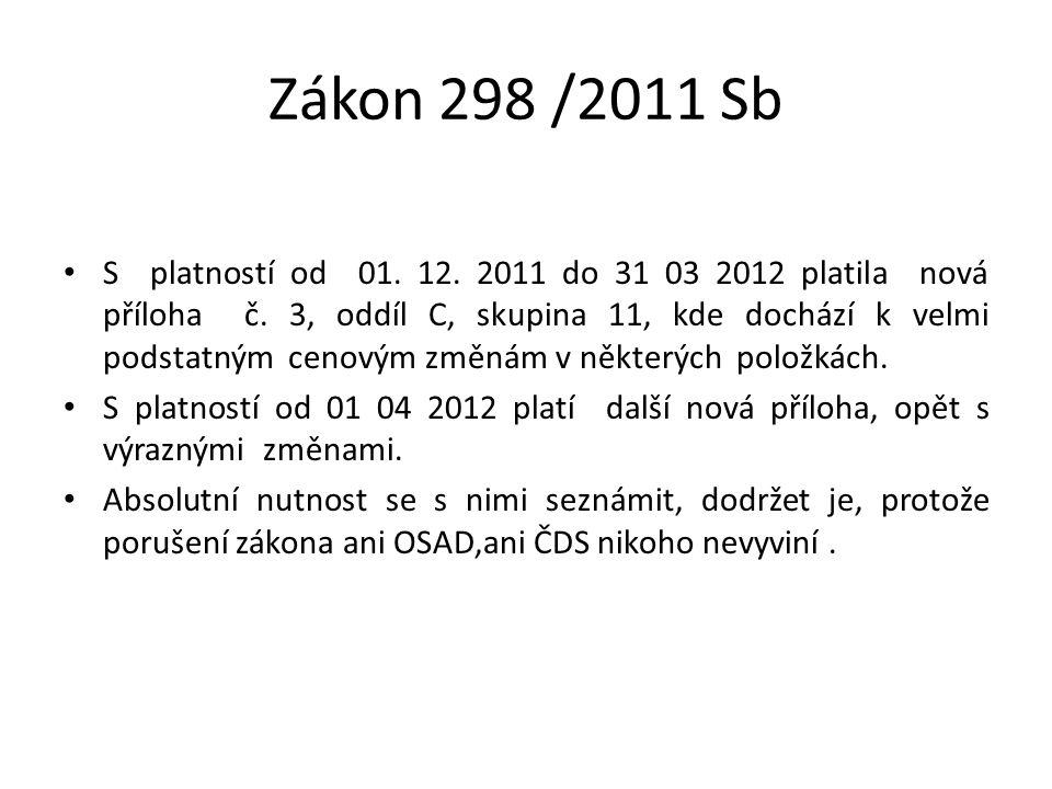 Zákon 298 /2011 Sb S platností od 01. 12. 2011 do 31 03 2012 platila nová příloha č. 3, oddíl C, skupina 11, kde dochází k velmi podstatným cenovým zm