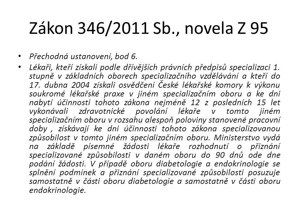 Zákon 346/2011 Sb., novela Z 95 Přechodná ustanovení, bod 6. Lékaři, kteří získali podle dřívějších právních předpisů specializaci 1. stupně v základn