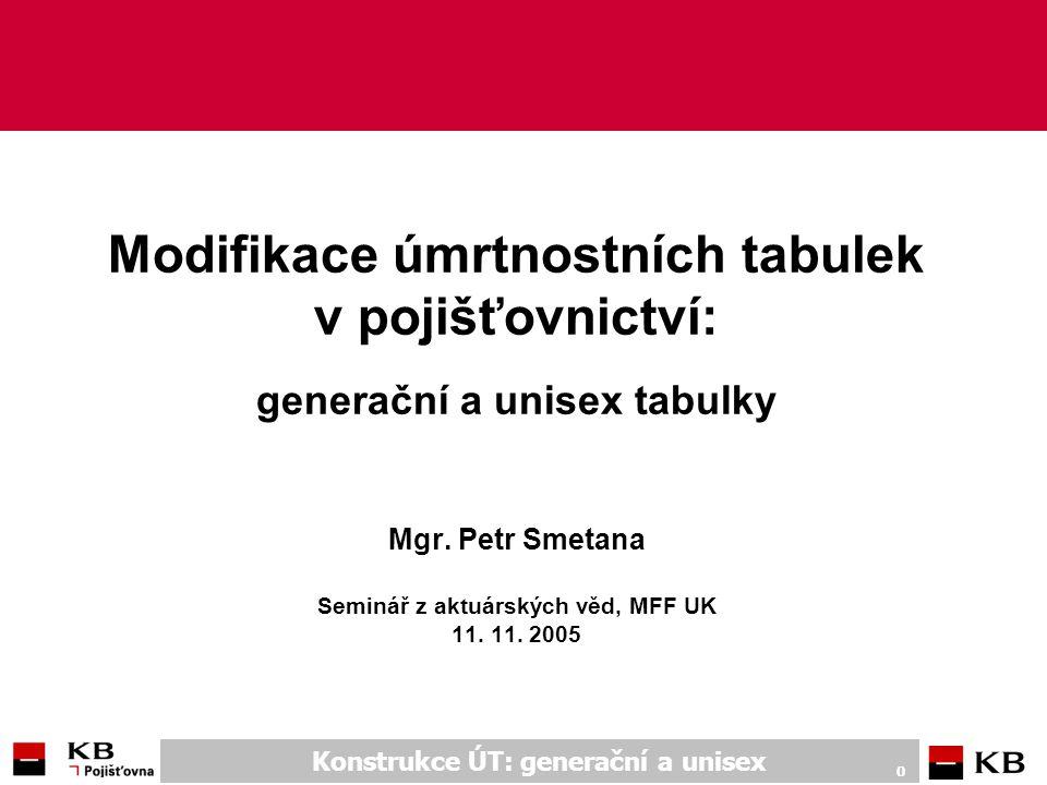 Konstrukce ÚT: generační a unisex 1 Obsah ngenerační úmrtnostní tabulky n důchodové n nedůchodové númrtnostní tabulky bez závislosti na pohlaví (unisex tabulky) n tvorba n výpočty a použití – porovnání n důsledky – Fair Value