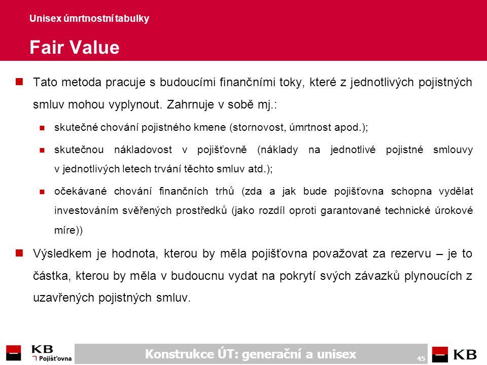Konstrukce ÚT: generační a unisex 45 Unisex úmrtnostní tabulky Fair Value nTato metoda pracuje s budoucími finančními toky, které z jednotlivých pojis
