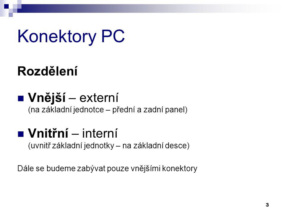 Konektory PC Rozdělení Vnější – externí (na základní jednotce – přední a zadní panel) Vnitřní – interní (uvnitř základní jednotky – na základní desce)