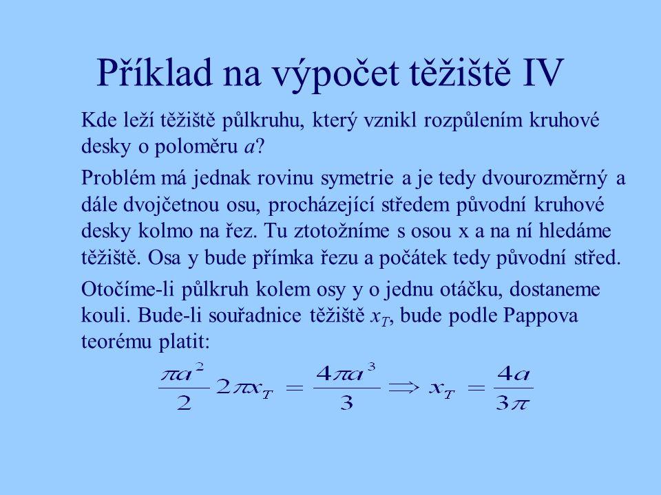 Příklad na výpočet těžiště IV Kde leží těžiště půlkruhu, který vznikl rozpůlením kruhové desky o poloměru a? Problém má jednak rovinu symetrie a je te