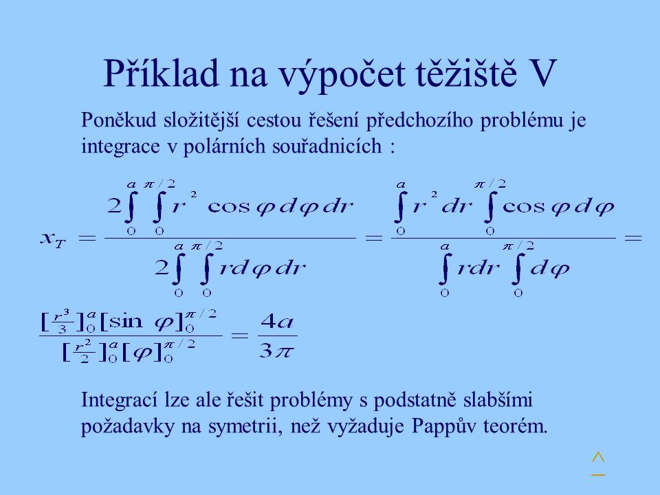 Příklad na výpočet těžiště V Poněkud složitější cestou řešení předchozího problému je integrace v polárních souřadnicích : Integrací lze ale řešit pro