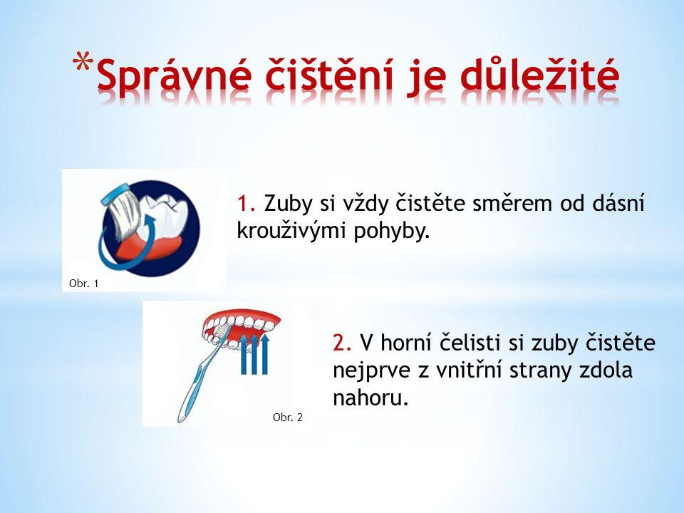 1. Zuby si vždy čistěte směrem od dásní krouživými pohyby.