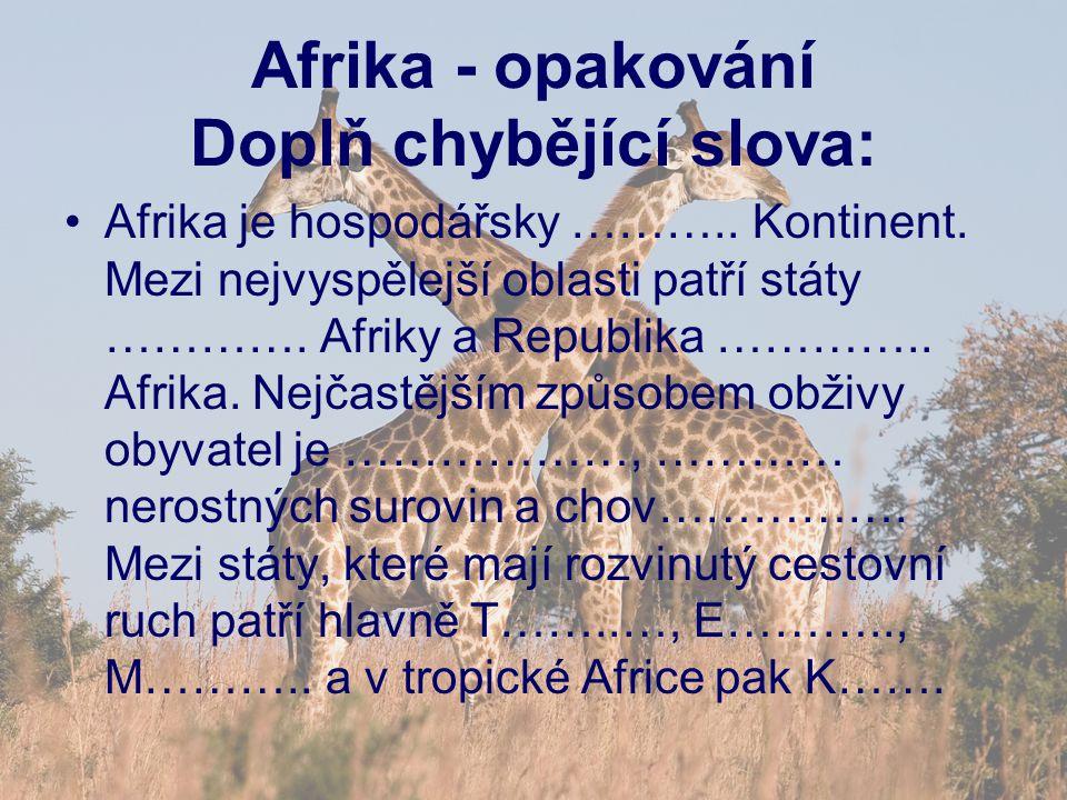 Afrika - opakování Doplň chybějící slova: Afrika je hospodářsky ………..
