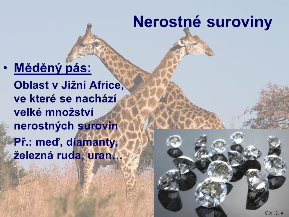 Nerostné suroviny Měděný pás: Oblast v Jižní Africe, ve které se nachází velké množství nerostných surovin Př.: meď, diamanty, železná ruda, uran… Obr.