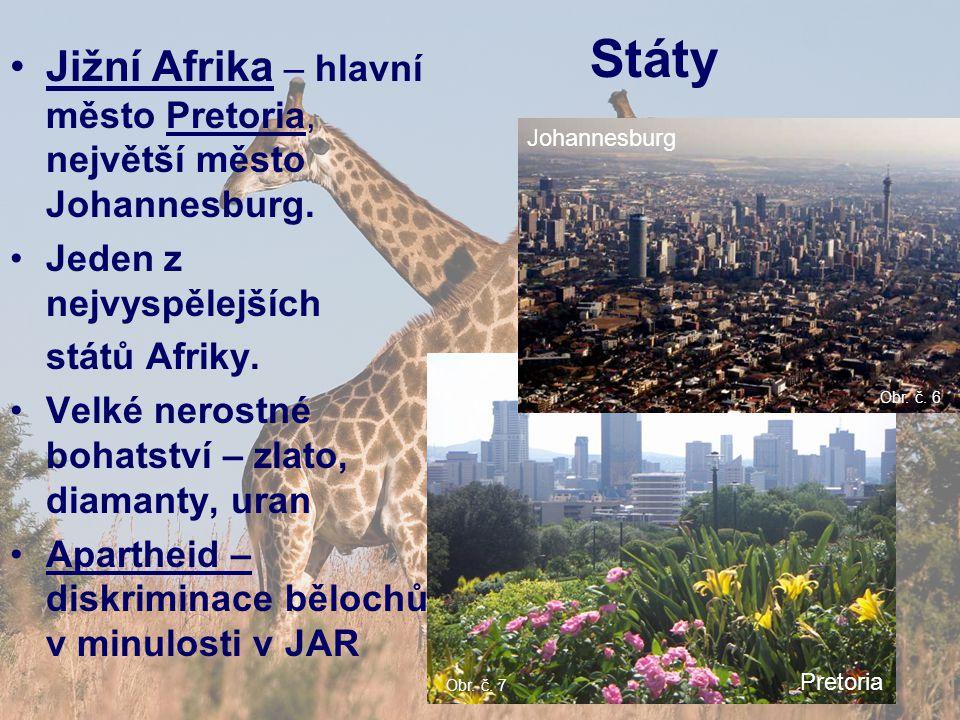 Státy Jižní Afrika – hlavní město Pretoria, největší město Johannesburg. Jeden z nejvyspělejších států Afriky. Velké nerostné bohatství – zlato, diama