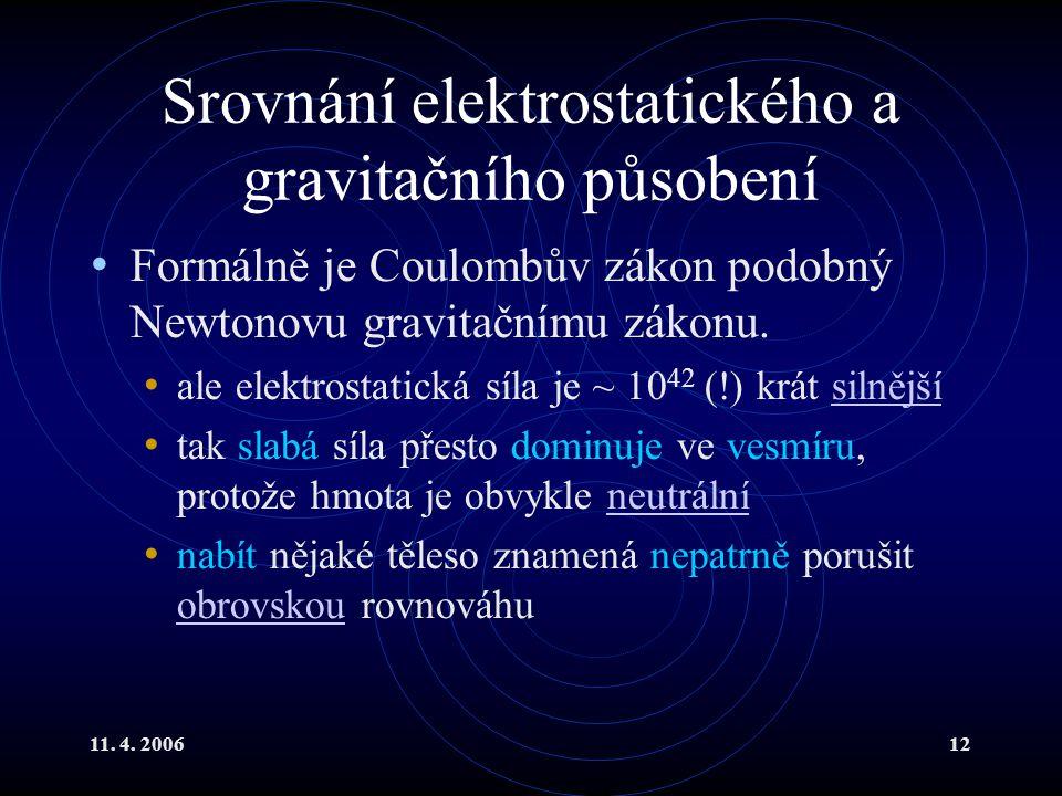 11. 4. 200612 Srovnání elektrostatického a gravitačního působení Formálně je Coulombův zákon podobný Newtonovu gravitačnímu zákonu. ale elektrostatick