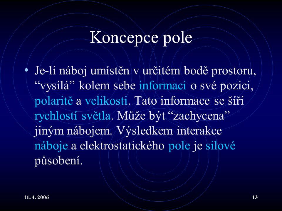 """11. 4. 200613 Koncepce pole Je-li náboj umístěn v určitém bodě prostoru, """"vysílá"""" kolem sebe informaci o své pozici, polaritě a velikosti. Tato inform"""