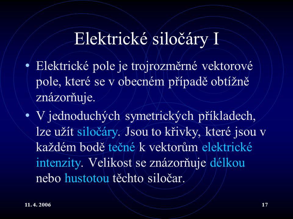 11. 4. 200617 Elektrické siločáry I Elektrické pole je trojrozměrné vektorové pole, které se v obecném případě obtížně znázorňuje. V jednoduchých syme
