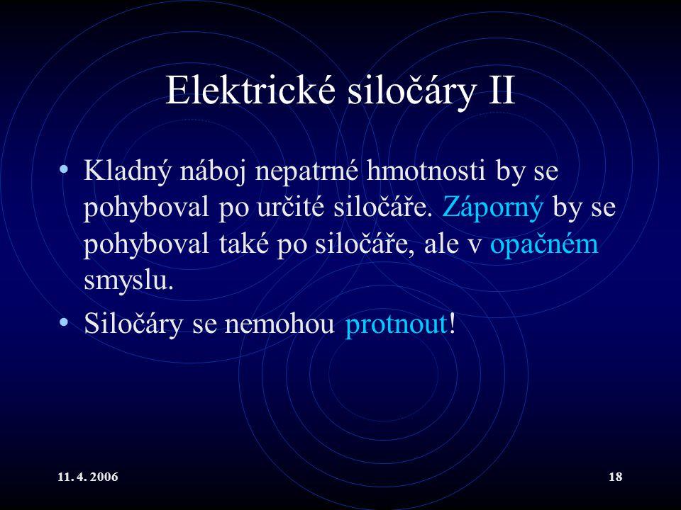 11. 4. 200618 Elektrické siločáry II Kladný náboj nepatrné hmotnosti by se pohyboval po určité siločáře. Záporný by se pohyboval také po siločáře, ale