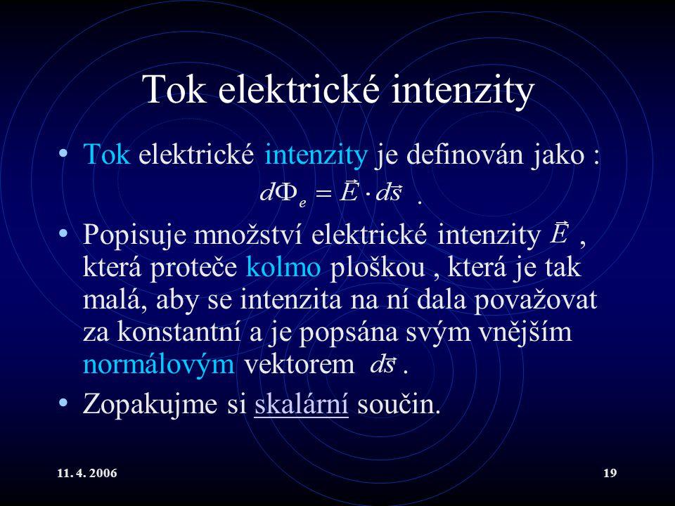 11. 4. 200619 Tok elektrické intenzity Tok elektrické intenzity je definován jako :. Popisuje množství elektrické intenzity, která proteče kolmo plošk