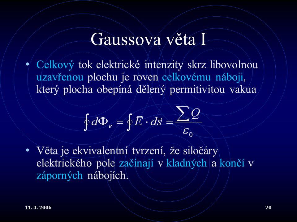 11. 4. 200620 Gaussova věta I Celkový tok elektrické intenzity skrz libovolnou uzavřenou plochu je roven celkovému náboji, který plocha obepíná dělený