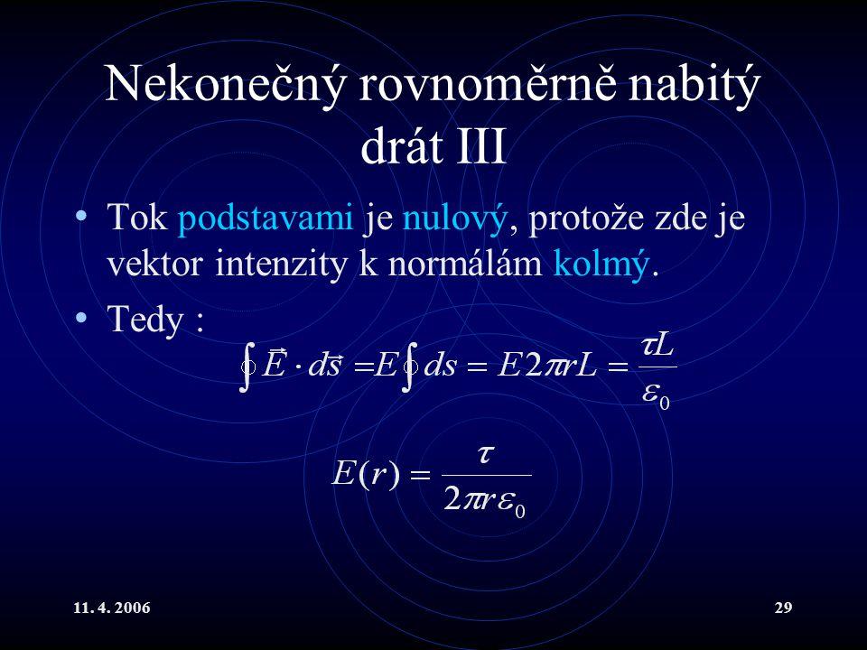 11. 4. 200629 Nekonečný rovnoměrně nabitý drát III Tok podstavami je nulový, protože zde je vektor intenzity k normálám kolmý. Tedy :