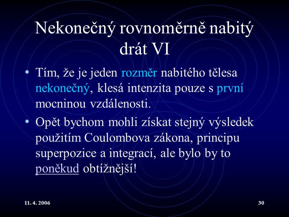 11. 4. 200630 Nekonečný rovnoměrně nabitý drát VI Tím, že je jeden rozměr nabitého tělesa nekonečný, klesá intenzita pouze s první mocninou vzdálenost