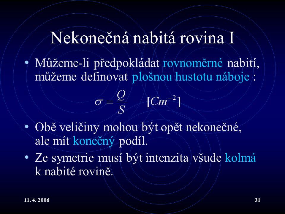 11. 4. 200631 Nekonečná nabitá rovina I Můžeme-li předpokládat rovnoměrné nabití, můžeme definovat plošnou hustotu náboje : Obě veličiny mohou být opě