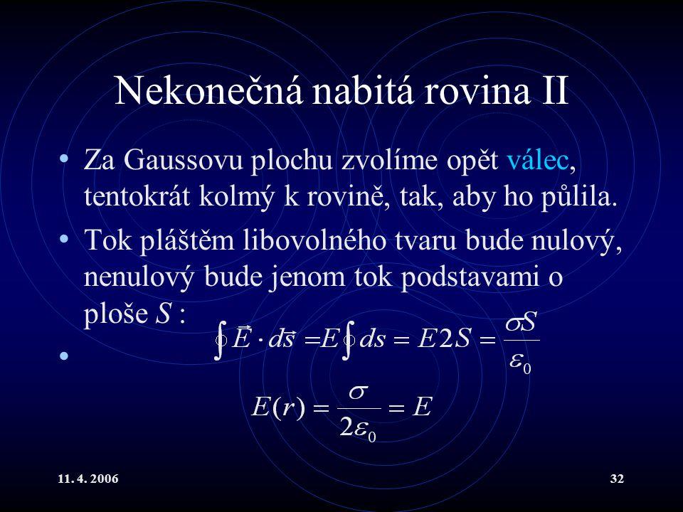 11. 4. 200632 Nekonečná nabitá rovina II Za Gaussovu plochu zvolíme opět válec, tentokrát kolmý k rovině, tak, aby ho půlila. Tok pláštěm libovolného