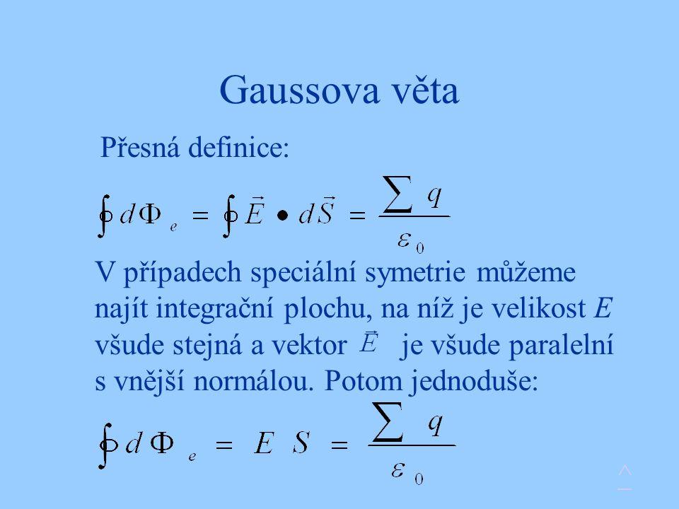 Gaussova věta Přesná definice: V případech speciální symetrie můžeme najít integrační plochu, na níž je velikost E všude stejná a vektor je všude paralelní s vnější normálou.