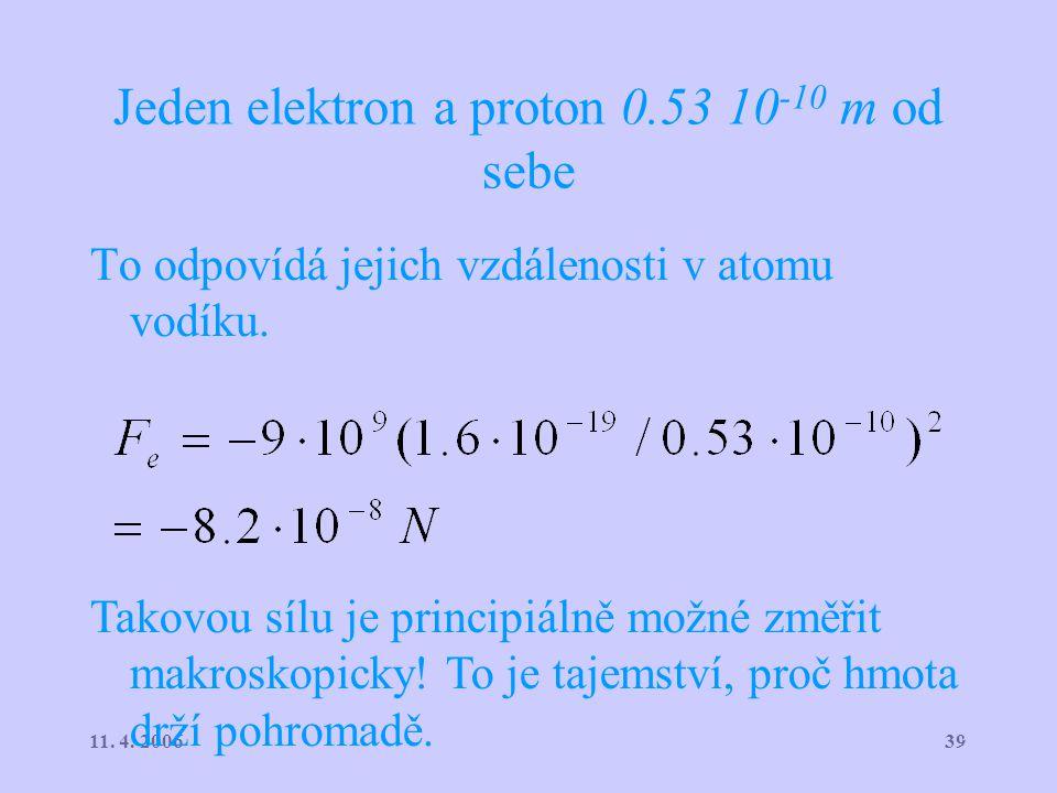 3911. 4. 2006 Jeden elektron a proton 0.53 10 -10 m od sebe To odpovídá jejich vzdálenosti v atomu vodíku. Takovou sílu je principiálně možné změřit m