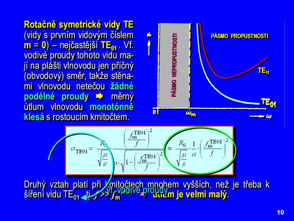 10 Rotačně symetrické vidy TE (vidy s prvním vidovým číslem m = 0 ) – nejčastější TE 01. Vf. vodivé proudy tohoto vidu ma- jí na plášti vlnovodu jen p