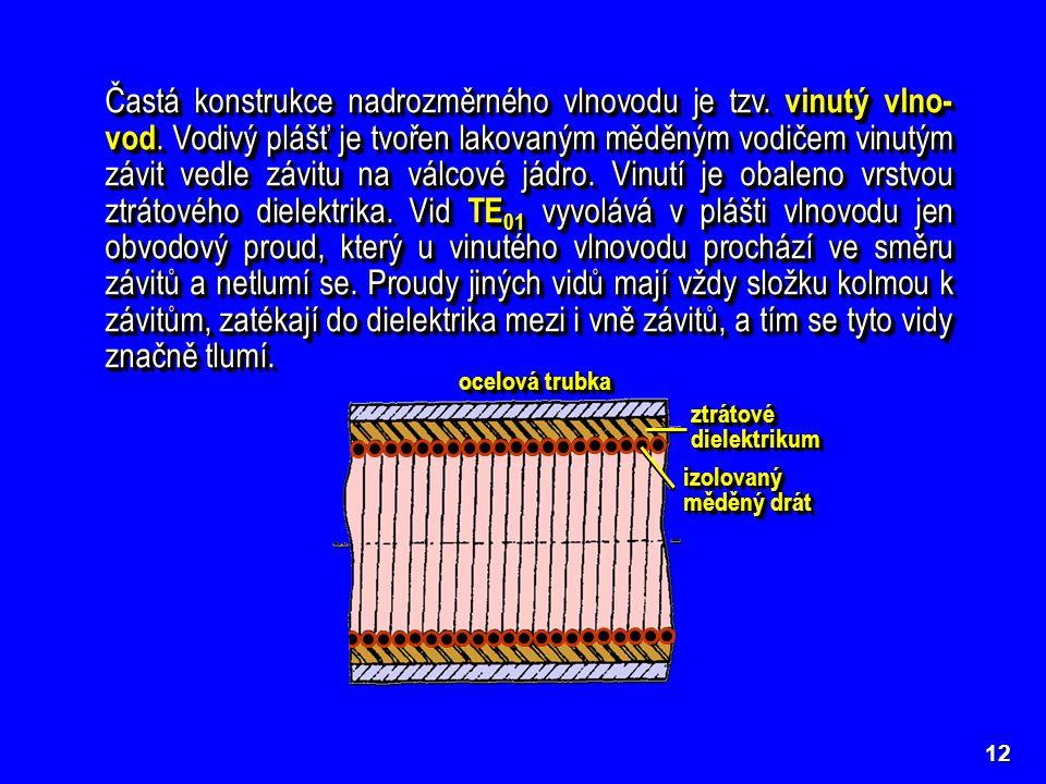 12 Častá konstrukce nadrozměrného vlnovodu je tzv. vinutý vlno- vod. Vodivý plášť je tvořen lakovaným měděným vodičem vinutým závit vedle závitu na vá