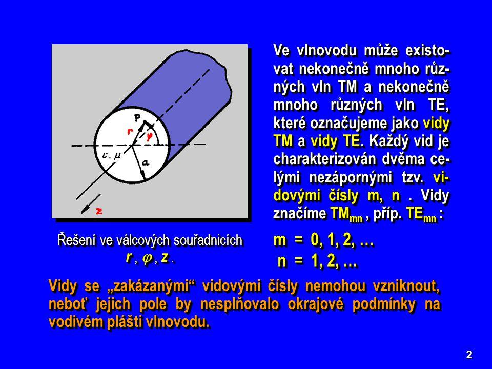3 Mezní kmitočty a mezní vlnové délky vidů TM ve vlnovodu kruhového průřezu Mezní kmitočty a mezní vlnové délky vidů TE ve vlnovodu kruhového průřezu  mn n-tý kořen Besselovy funkce 1.