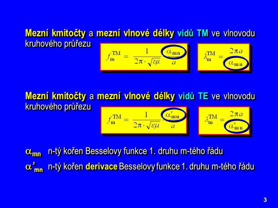 4 n = 1  mn  mn m = 0 2,40483,8317 m = 1 3,83171,8412 m = 2 5,13563,0542 m = 3 6,38024,2012 J0J0J0J0 J1J1J1J1 J2J2J2J2 J3J3J3J3 J4J4J4J4 n = 1  01 n = 2  02 n = 1  11 n = 1  ' 11  11 =  ' 01 Kořeny Besselových funkcí 1.