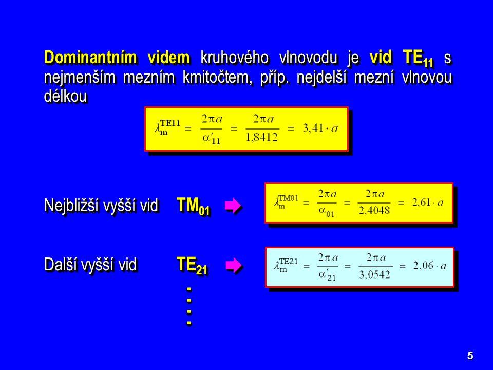 5 Dominantním videm kruhového vlnovodu je vid TE 11 s nejmenším mezním kmitočtem, příp. nejdelší mezní vlnovou délkou Nejbližší vyšší vid TM 01  Dal