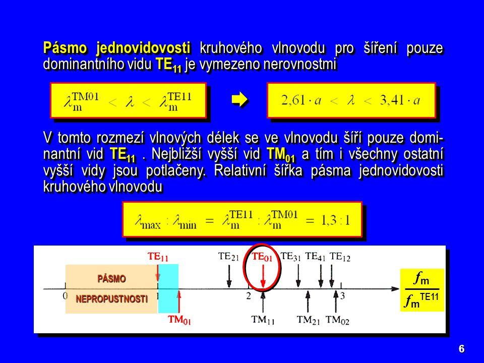 6 Pásmo jednovidovosti kruhového vlnovodu pro šíření pouze dominantního vidu TE 11 je vymezeno nerovnostmi  V tomto rozmezí vlnových délek se ve vln