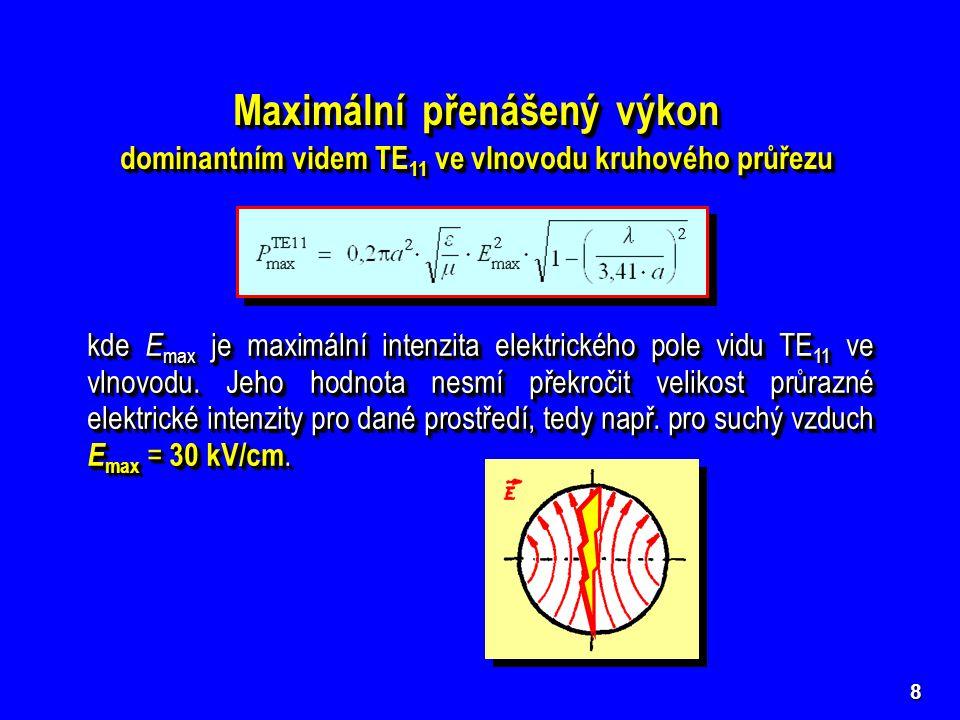9 Měrný útlum dominantního vidu TE 11 ve vlnovodu kruhového průřezu Měrný útlum dominantního vidu TE 11 ve vlnovodu kruhového průřezu PÁSMO NEPROPUSTNOSTI  vlivem ztrátového dielektrika  viz BVMT - vlnovody obecné  v pásmu nepropustnosti  viz BVMT - vlnovody obecné  vlivem ztrát v nedokonale vodivých kovových stěnách  vlivem ztrátového dielektrika  viz BVMT - vlnovody obecné  v pásmu nepropustnosti  viz BVMT - vlnovody obecné  vlivem ztrát v nedokonale vodivých kovových stěnách  TE 11 PÁSMO JEDNOVIDOVOSTI PÁSMO PROPUSTNOSTI