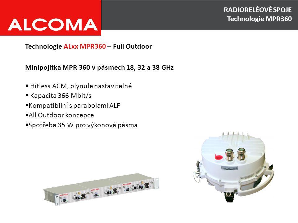 RADIORELÉOVÉ SPOJE Výhody x Nevýhody Technologie ALxx MPR360 – Full Outdoor Minipojítka MPR 360 v pásmech 18, 32 a 38 GHz  Hitless ACM, plynule nastavitelné  Kapacita 366 Mbit/s  Kompatibilní s parabolami ALF  All Outdoor koncepce  Spotřeba 35 W pro výkonová pásma RADIORELÉOVÉ SPOJE Technologie MPR360