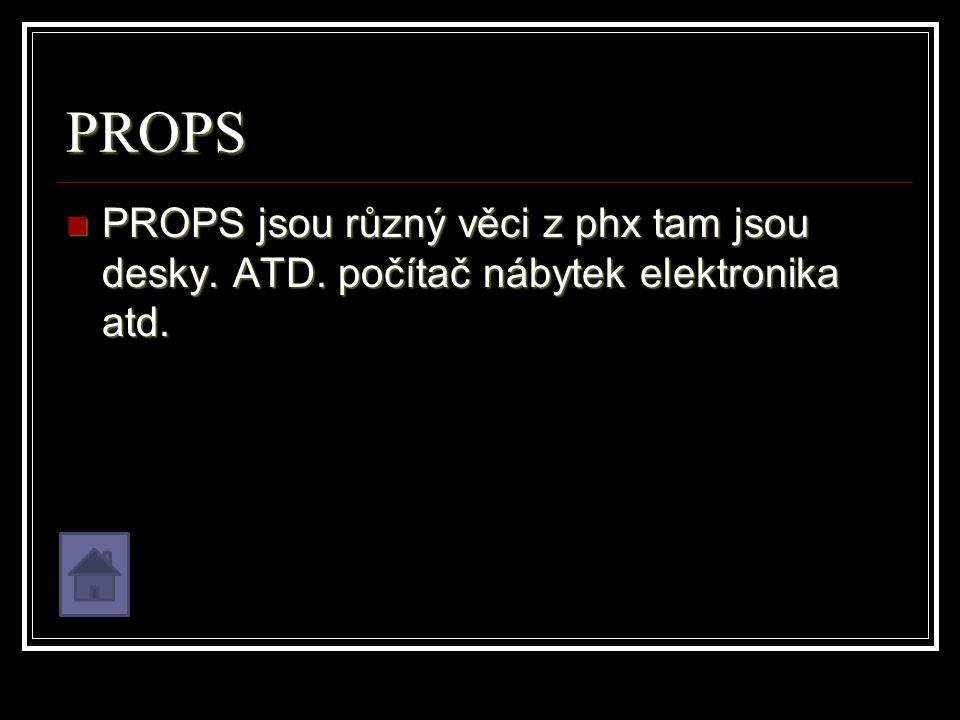 PROPS PROPS jsou různý věci z phx tam jsou desky. ATD.